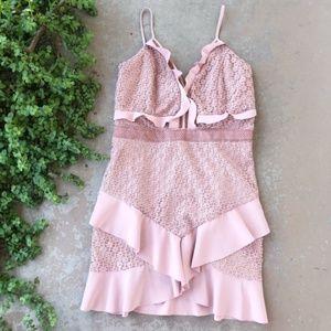 Bardot Revolve Fae Lace Mini Dress in Dusty Rose